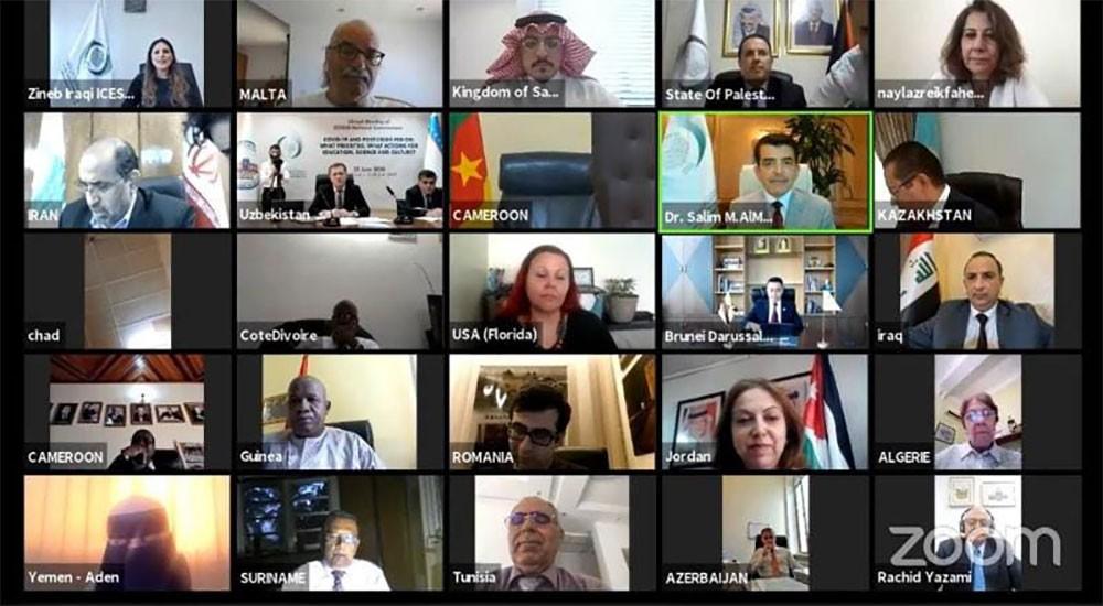 الأمين العام للجنة البحرين الوطنية تشارك في اجتماع افتراضي عقدته الاسيسكو مع اللجان الوطنية