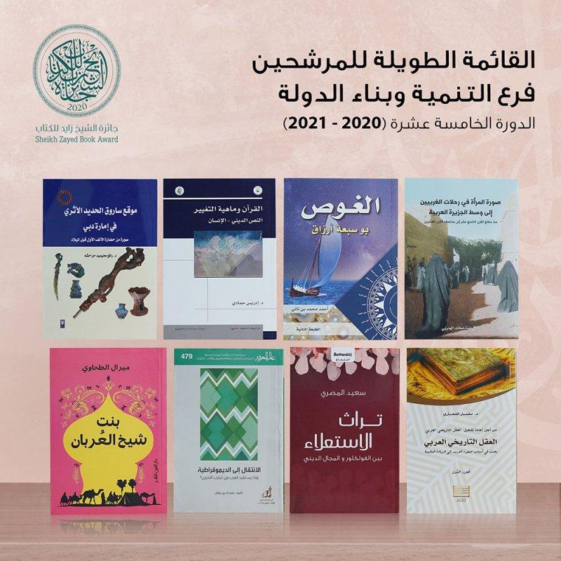 """جائزة الشيخ زايد للكتاب تعلن القائمة الطويلة لفرعي """"التنمية وبناء الدولة"""" و""""الفنون والدراسات النقدية"""""""