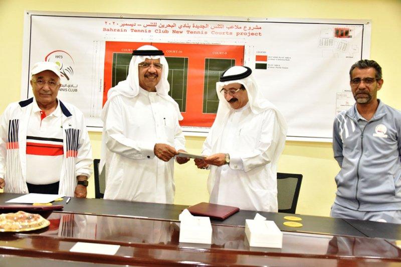 نادي البحرين للتنس يوقع اتفاقية انشاء ملاعب التنس الجديدة