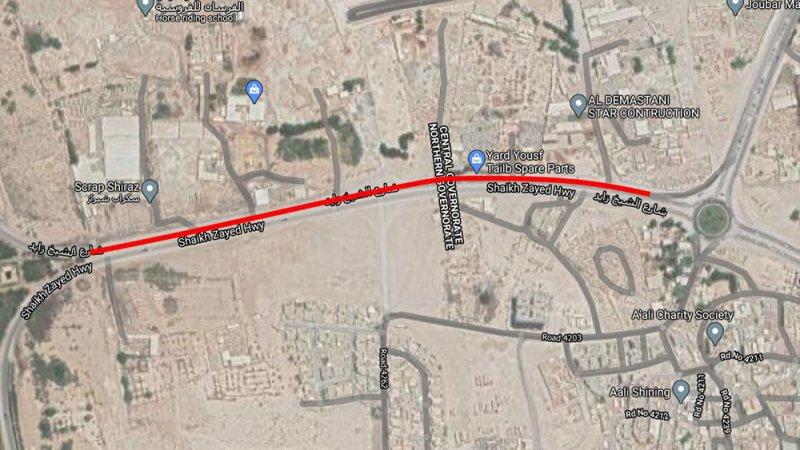 غلق المسار الأيمن على شارع الشيخ زايد ابتداءً من اليوم الخميس