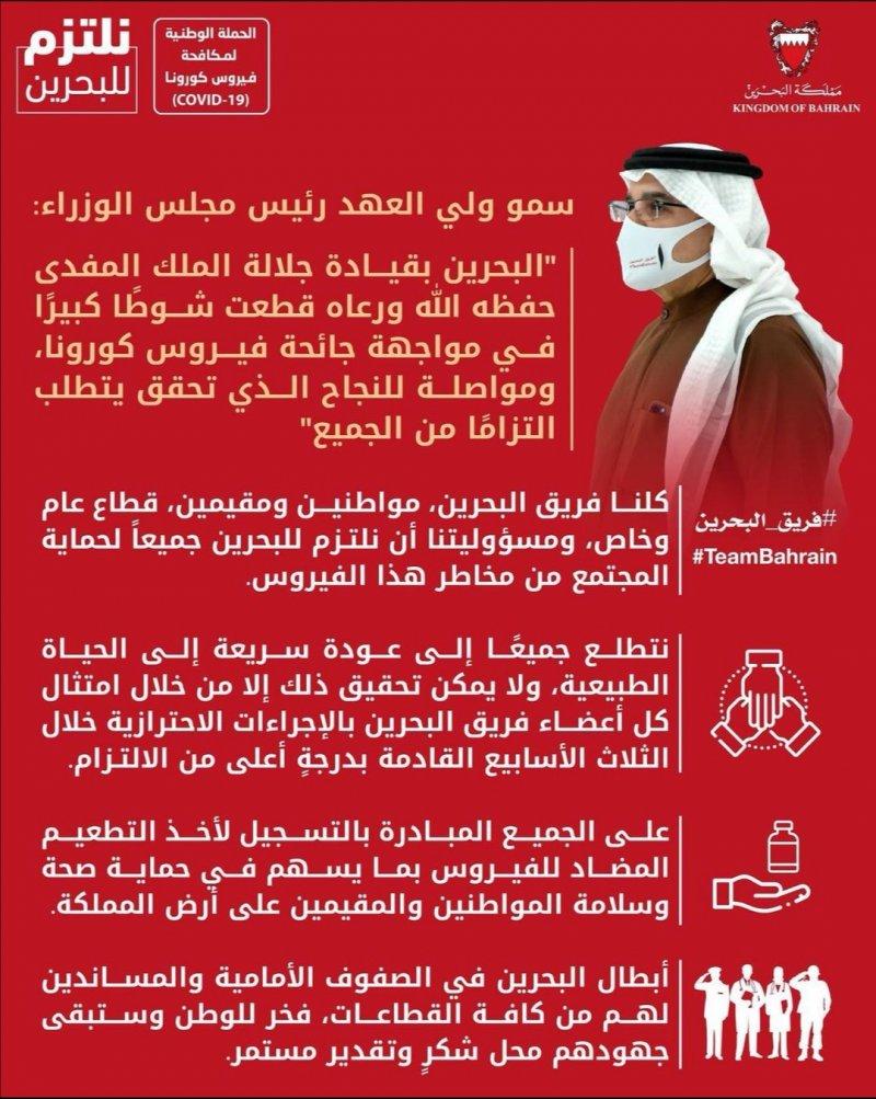 سمو ولي العهد رئيس الوزراء: لا يمكن تحقيق العودة السريعة للحياة الطبيعية إلا بامتثال فريق البحرين بالإجراءات الاحترازية خلال الأسابيع الثلاثة المقبلة