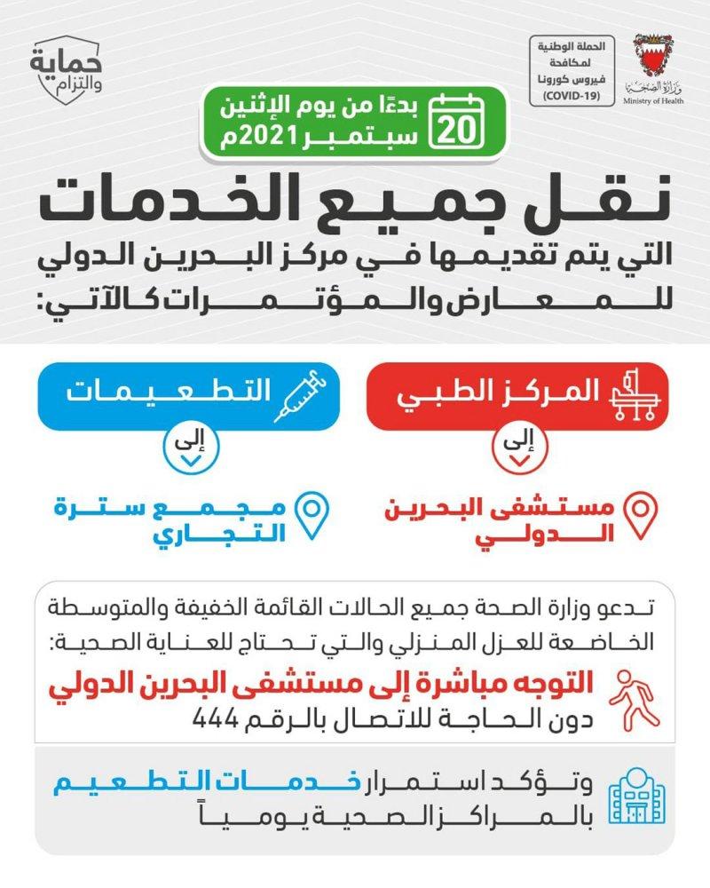 الصحة: إغلاق مركز البحرين للمعارض ونقل جميع خدماته الى مستشفى البحرين الدولي ومجمع سترة